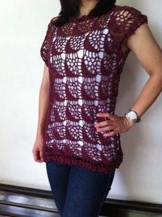 Handmade+Crochet++Maroon+Women+Vest+/+Shirt+by+CraftyNad+on+Etsy,+$45.00