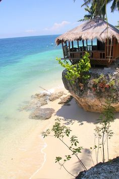 Enjoy the amazing view of Oslob Waters on top of a rock.