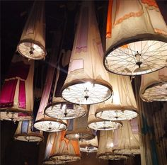 Stunning Pendant Lamps Created with Fabric and Old Bike Wheels - Seen in the Antonio Marras showroom, Italy