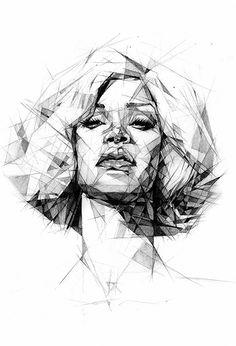 """Rihanna"" by Dave Merrell, geometric portrait drrawing"