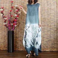 Women printing cotton linen vest dress
