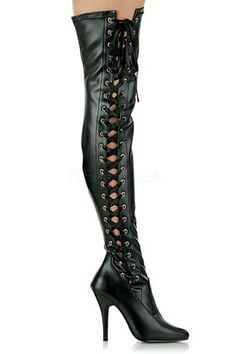 Features: Faux leather, full side lace up, top buckle strap, and 5 inch heels.