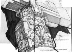 Syd Mead: Starboard lower mast concept photo: Most of the details in the sketch don't match the final design, but it can be used as a guide for detailing the aft side of the lower mast (seen at left), since there aren't any good views of this section in the movie. This photo was uploaded by jhfong