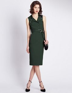 Speziale Collared Neck Panelled Military Shift Dress | M&S