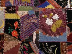"""I ❤ crazy quilting & embroidery . . .  Crazy Quilt (detail approx. 20"""" wide)  Possibly made by Mrs. James Pollard  Possibly made in Washington County, Nebraska, Late 1800s, 79"""" x 72""""  Durham Western Heritage Museum  1993.149.1"""