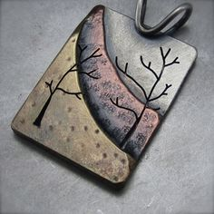 Metal Jewelry Image of Northern Slope Pendant Mixed Metals * try in polymer - Mixed Metal Jewelry, Metal Clay Jewelry, Ceramic Jewelry, Copper Jewelry, Wire Jewelry, Jewelry Crafts, Jewelry Art, Wire Rings, Copper Wire