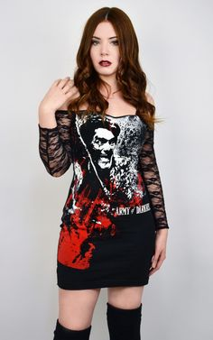Army of Darkness Off- Shoulder Lace Dress