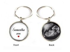 2 Side Baby Sonogram Keychain, Pregnancy Gift, birth announcement, Gift for New Mother Father