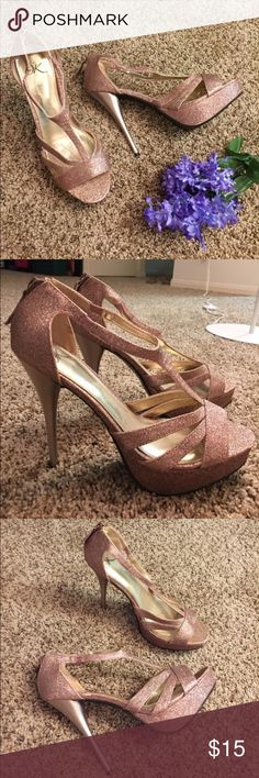 """Rose Gold Glitter Heels Only worn once! Strappy details with a 5.25"""" heel Shoes Heels"""