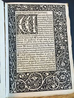 William Morris' Kelmscott Press reprinting of the chapter, 'the Nature of Gothic' from The Stones of Venice