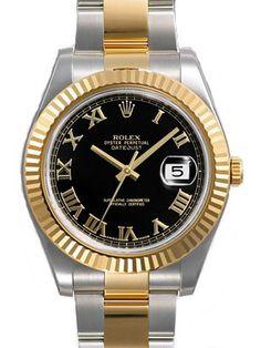 Rolex Datejust II Black Roman Dial 18k Yellow Gold Fluted Bezel Two Tone Oyster Bracelet Mens Watch 116333BKRO: Watches: www.girardperregauxwatches.com