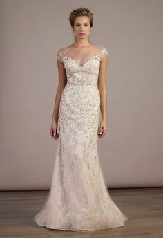 Beautiful illusion neckline dress with lots of sparkles!  Liancarlo Spring 2015 | The Knot Blog
