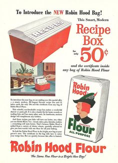 1950s Robin Hood Flour promotional recipe box ad. vintage 1950s food ads