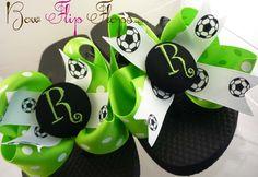 05ed6594ddebe3 Soccer Flip Flops Bow Number Personalized by BowFlipFlops on Etsy Ribbon Flip  Flops
