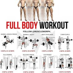 Full body workout routine - If you want to build muscle mass, there are hundreds of different training programs you could choose from to help you achieve that goal … Full Body Workouts, Fitness Workouts, Full Body Workout Routine, Weight Training Workouts, Sport Fitness, Body Fitness, Easy Workouts, Fitness Tips, Workout Tips