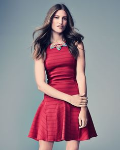 4.collective Anna Pintuck-Tiered Fit-And-Flare Dress