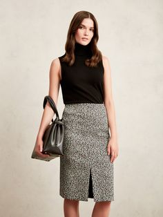 Cashmere Roll Neck Sweater, Ripple Jacquard A-Line Skirt and Large Maddison Leather Bag