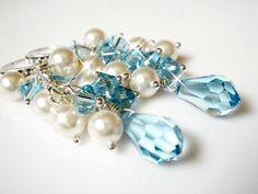 Customized Bridesmaid Sky Blue Swarovski Crystal and Pearl Earrings