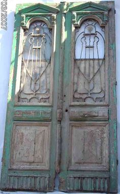 french colonial beech pine iron double entry doors 5