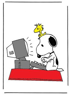 Snoopy image at computer | snoopy-computer « EvenTeller