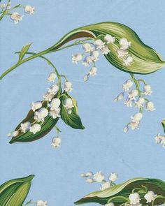 Waverly Lilies Of The Valley Cornflower Cotton Prints Fabric By The Yard Cute Illustration, Botanical Illustration, May Birth Flowers, Lily Of The Valley Flowers, Interior Wallpaper, Sweet Violets, Mirror Painting, Japanese Prints, Cute Art