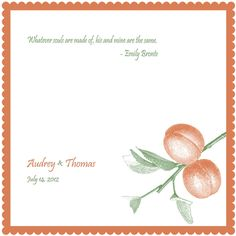 Wedding handkerchief, personalized with peach and custom quote