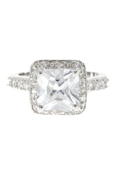 Square CZ Halo Ring
