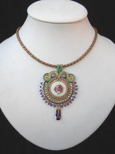 Green and Purple silk Soutache pendant on Gold by MiriamShimon