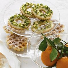 Lemon-Pistachio Wreaths | by Martha Stewart | on Living. Add dried cranberries for an even more festive touch.