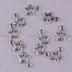 Sho 10pcs Fashion DIY Tibetan Silver Tone Star Bead Pendant Charm Dangle J0617 | eBay
