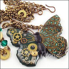 Steampunk Butterfly Necklace, Polymer Tutorials