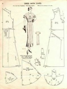 Pattern dress with capes