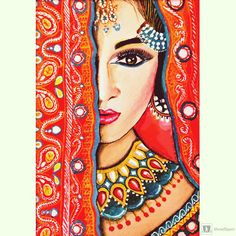 The Royal Half Watercolor Art By Shreyashi Das, Paintings Fine Art for Sell Rajasthani Painting, Rajasthani Art, Madhubani Art, Madhubani Painting, Indian Art Paintings, Indian Women Painting, Abstract Paintings, Oil Paintings, Bd Art