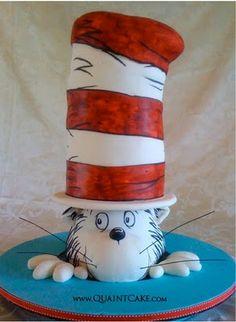 Cat In the Hat Cake (too cute) Chocolate Ganache Cupcakes Pretty Cakes, Cute Cakes, Beautiful Cakes, Amazing Cakes, Crazy Cakes, Fancy Cakes, Unique Cakes, Creative Cakes, Fondant Cakes