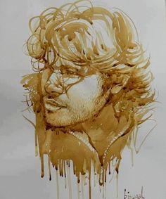 .Coffee painting #coffee #coffeeart