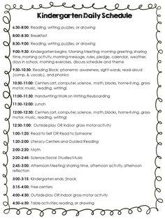 Here Is A Sample Of My FullDay Kindergarten Schedule