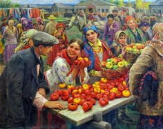 Fedot Vasilievich Sychkov  (1870-1958) was a Russian and Soviet painter. He specialized in paintings of jolly peasants.      A Peasant Gathe...