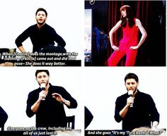 [SET OF GIFS] Jensen convention panel at NJCon 2013 talking about Felicia in 8x20 Pac-Man Fever