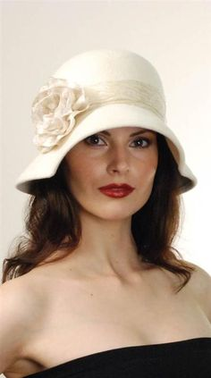 Dainty and matches well with most anything! LOUISE GREEN CREME DA LA CREME HAT from Victorian Trading Company
