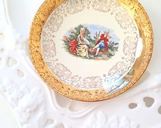 Vintage Crest-O-Gold Saucer Warranted 22K Hollywood Regency Tea Party Replacement China Courting Couple