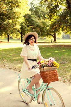 Maisy. So girly. Dress. Glasses. Hat. Bike. Heart. Chiffon.