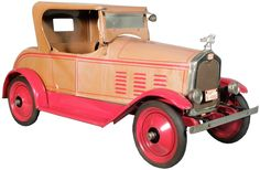 All original, right down to its nickel plating and two-tone color scheme, is this Gendron 1926 Stutz pull toy.