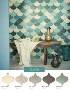 baldosas de tierra despedido - azulejos marroquíes Bad Inspiration, Bathroom Inspiration, Interior Inspiration, Fish Scale Tile, Bohemian Bathroom, Moroccan Tiles, Moroccan Bathroom, Wall And Floor Tiles, Wall Tiles