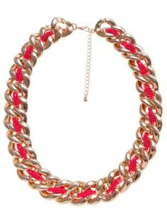 Gold And Pink Neon Thread Chunky Chain Necklace