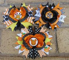 PICK ONE - Mickey & Minnie Mouse Halloween Disney World Vacation Boutique Mickey Minnie Mouse Hair Bow Disney World Halloween, Minnie Mouse Halloween, Halloween Hair Bows, Mickey Minnie Mouse, Ribbon Hair Bows, Girl Hair Bows, Bow Hair Clips, Disney Bows, Disney Diy