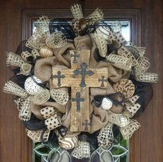 Burlap and Black Wreath with RUSTIC CROSS by decoglitz on Etsy