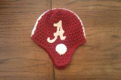 Crocheted Alabama football helmet hat