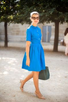 Vanessa Jackman: Paris Fashion Week SS 2019 - and white summer dress casual blue casual dress summer blue summer dress casual casual blue dress - blue dress casual - Summer Blue Dresses 2019 Vintage Style Dresses, Trendy Dresses, Blue Dresses, Casual Dresses, Fashion Dresses, Summer Dresses, Fashion Shoes, 1950s Dresses, Satin Dresses