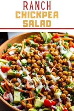 This Ranch Chickpea Salad is my new go-to EASY lunch recipe! It's fully plant-based and packed with so much goodness. This salad is easily customizable and perfect for meal prep. Chickpea Recipes, Chickpea Salad, Healthy Salad Recipes, Lunch Recipes, Vegan Recipes, Dairy Free Yogurt, Vegan Sour Cream, Warm Food, Vegane Rezepte