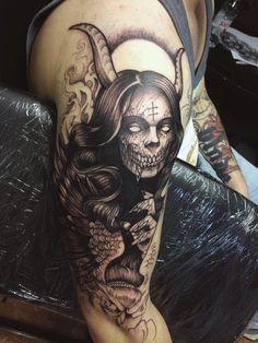 demon tattoo on shoulder
